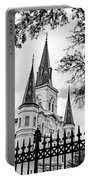 Cathedral Basilica - Square Bw Portable Battery Charger