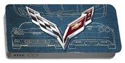 Chevrolet Corvette 3 D Badge Over Corvette C 6 Z R 1 Blueprint Portable Battery Charger