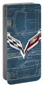 Chevrolet Corvette 3 D Badge Over Corvette C 6 Z R 1 Blueprint Portable Battery Charger
