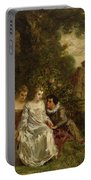 Chivalric Scene In A Park Portable Battery Charger