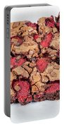Chocolate Cake With Strawberry On Porcelain Plate Portable Battery Charger