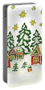 Christmas Picture In Green And Yellow Colours Portable Battery Charger