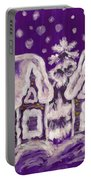 Christmas Picture On Crimson Background Portable Battery Charger