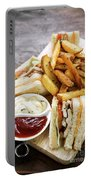 Classic Club Sandwich With Fries On Wooden Board Portable Battery Charger