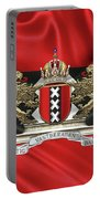 Coat Of Arms Of Amsterdam Over Flag Of Amsterdam Portable Battery Charger