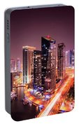 Colorful Night Dubai Marina Skyline, Dubai, United Arab Emirates Portable Battery Charger