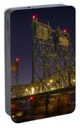 Columbia Crossing I-5 Interstate Bridge At Night Portable Battery Charger