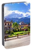 Cortina D' Ampezzo Street And Alps Peaks Panoramic View Portable Battery Charger