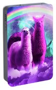 Crazy Funny Rainbow Llama In Space Portable Battery Charger