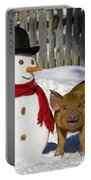 Curious Piglet And Snowman Portable Battery Charger