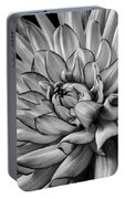 Dahlia In Black And White Close Up Portable Battery Charger