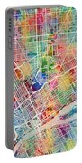 Detroit Michigan City Map Portable Battery Charger