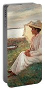 Elegant Lady By The Sea Portable Battery Charger