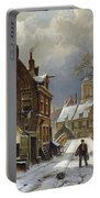 Figures In The Streets Of A Wintry Dutch Town Portable Battery Charger