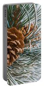Frosty Pine Needles And Pine Cones Portable Battery Charger