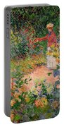 Garden At Giverny Portable Battery Charger by Claude Monet