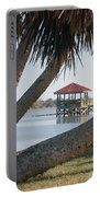 Gazebo Dock Framed By Leaning Palms Portable Battery Charger