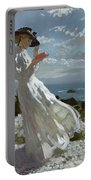 Grace Reading At Howth Bay Portable Battery Charger by Sir William Orpen