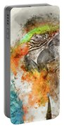Green And Orange Macaw Bird Digital Watercolor On Photograph Portable Battery Charger