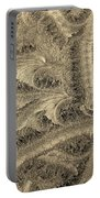 Extraordinary Hoarfrost Scallop Patterns In Sepia Portable Battery Charger