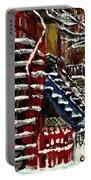 Escaliers De Montreal Ville De Verdun Best Original Montreal Paintings On Sale Peintures  Portable Battery Charger