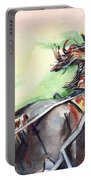 Horse Art In Watercolor Portable Battery Charger