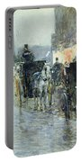 Horse Drawn Cabs At Evening In New York Portable Battery Charger by Childe Hassam