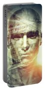 Human Man Face And Dollars Double Exposure. Portable Battery Charger