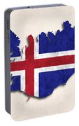 Iceland Map Art With Flag Design Portable Battery Charger