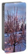 Icy Tree At Sunset  Portable Battery Charger