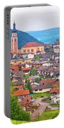 Idyllic Alpine Town Of Kastelruth On Green Hill View Portable Battery Charger