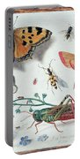 Insects And Garden Pansy Portable Battery Charger