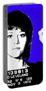 Jane Fonda Mug Shot - Blue Portable Battery Charger