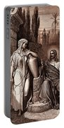Jesus And The Woman Of Samaria Portable Battery Charger