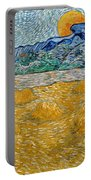 Landscape With Wheat Sheaves And Rising Moon Portable Battery Charger