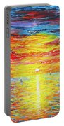 Lighthouse Sunset Ocean View Palette Knife Original Painting Portable Battery Charger