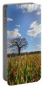 Lone Oak Tree In Wheat Field Portable Battery Charger