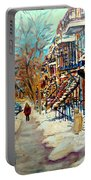 Montreal Street In Winter Portable Battery Charger by Carole Spandau