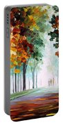Morning Fog - Palette Knife Oil Painting On Canvas By Leonid Afremov Portable Battery Charger