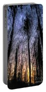Motion Blurred Trees In A Forest Portable Battery Charger