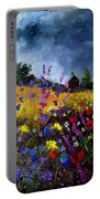 Old Chapel And Flowers Portable Battery Charger