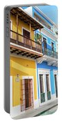 Old San Juan Houses In Historic Street In Puerto Rico Portable Battery Charger