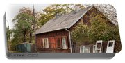 Old Wooden House With Tar Portable Battery Charger