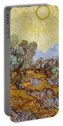 Olive Trees With Yellow Sky And Sun Portable Battery Charger