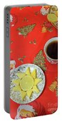 On The Eve Of Christmas. Tea Drinking With Cheese. Portable Battery Charger