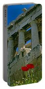 Parthenon With Poppies Portable Battery Charger
