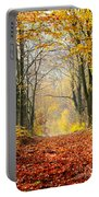 Path Of Red Leaves Towards Light In Fall Forest Portable Battery Charger