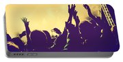 People With Hands Up In Night Club Portable Battery Charger
