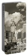 Philadelphia Cityscape In Sepia Portable Battery Charger