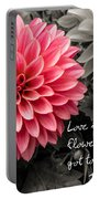 Pink Dahlia With John Lennon Quote Portable Battery Charger
